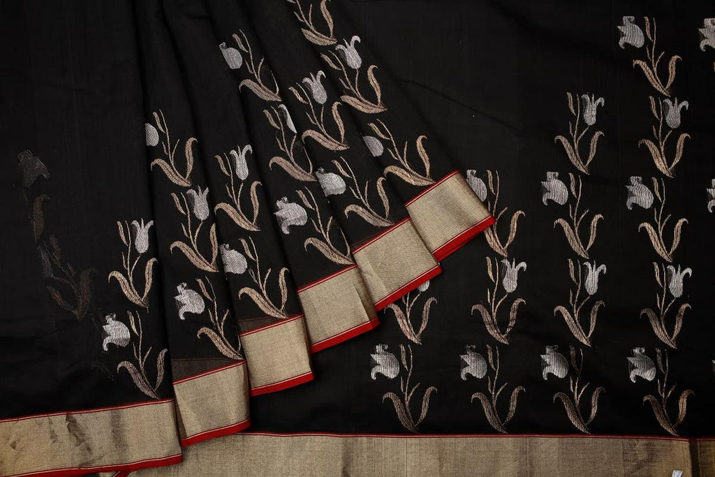 chanderi silk by cotton black plain Saree