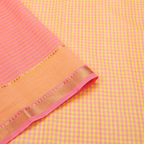 Mangalgiri Pink And Peach Cotton Silk Saree