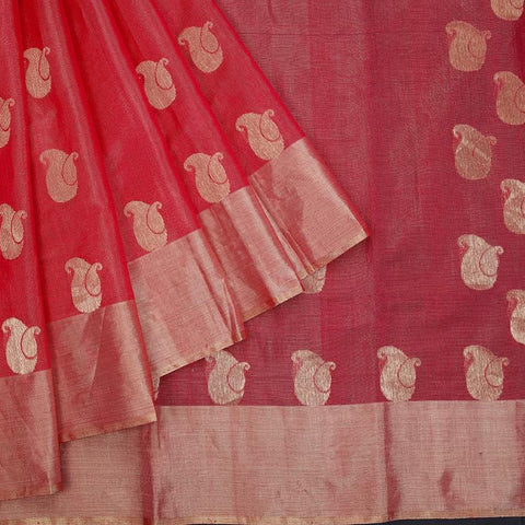 chanderi silk by cotton baby pink paisely butti Saree