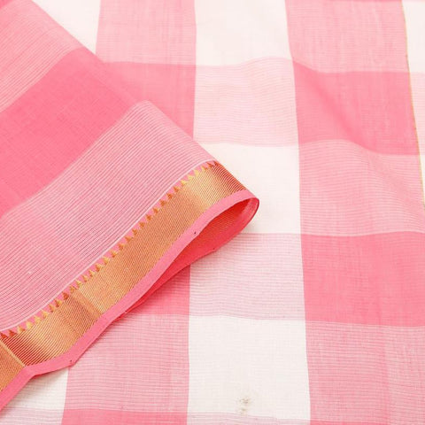 Mangalgiri Pink And White Cotton Silk Saree