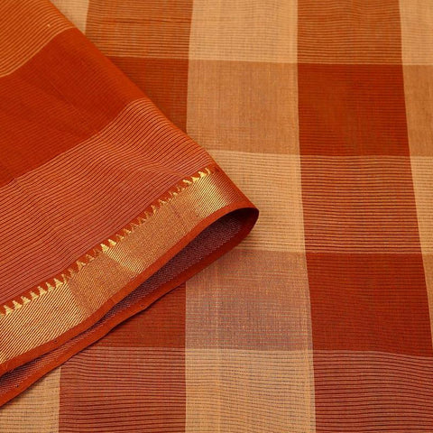 Mangalgiri Brown Cotton Silk Saree