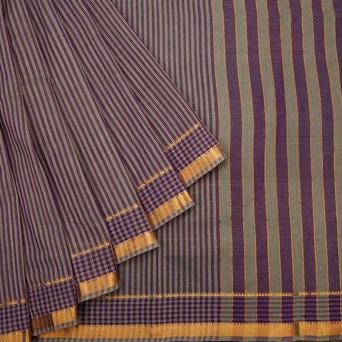 Mangalgiri Purple And Grey Cotton Silk Saree