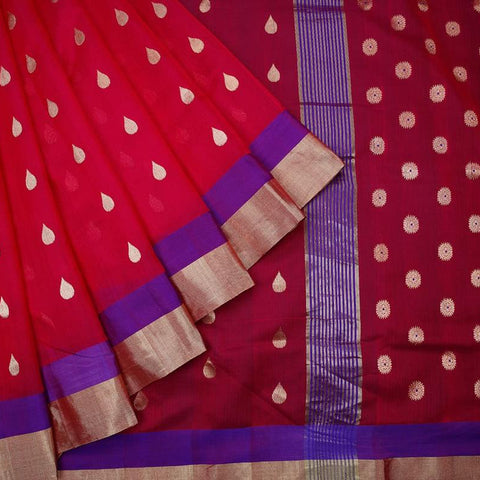 chanderi silk by cotton pink leaf butti Saree