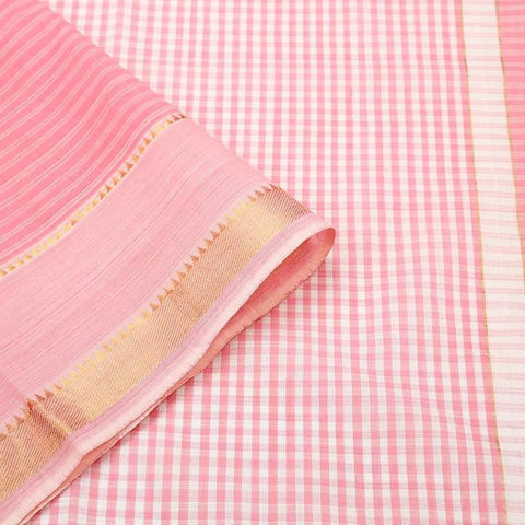 Mangalgiri Baby Pink Cotton Silk Saree