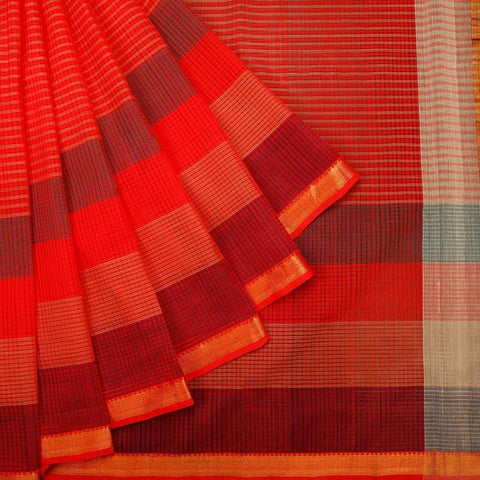 Mangalgiri Red Cotton Silk Saree