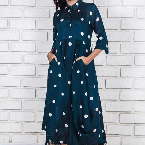 midnight  blue  handloom silk cotton dress