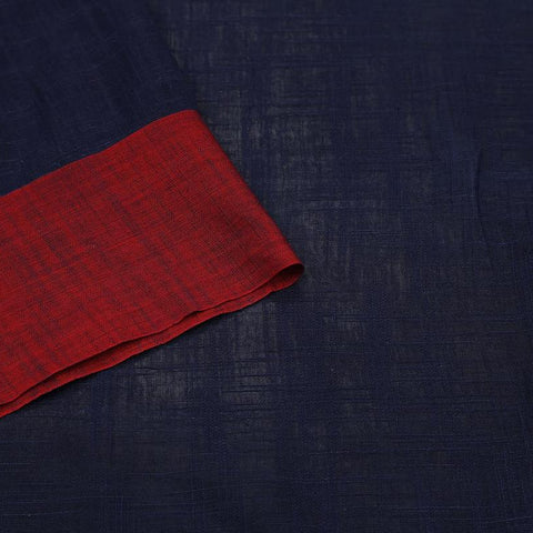 bengal cotton handwoven navy blue and red plain Saree