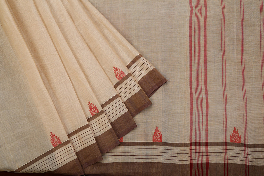 Handloom Cotton Beige Saree