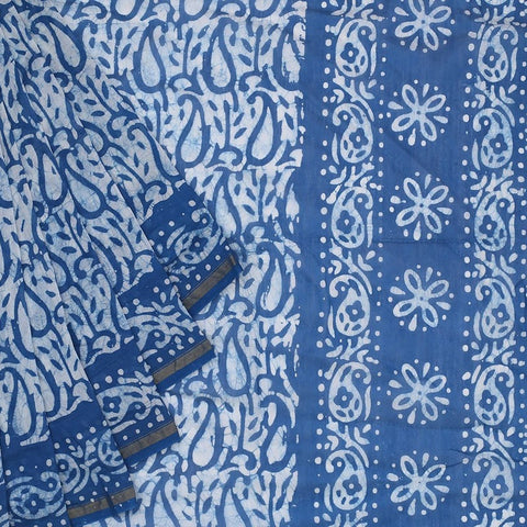 Chanderi Silk Cotton blue saree with marbling pattern pattern