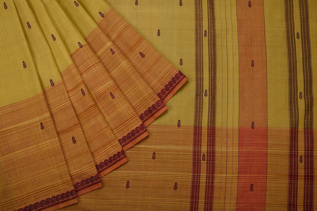 Kanjivaram Brown Cotton Silk Saree
