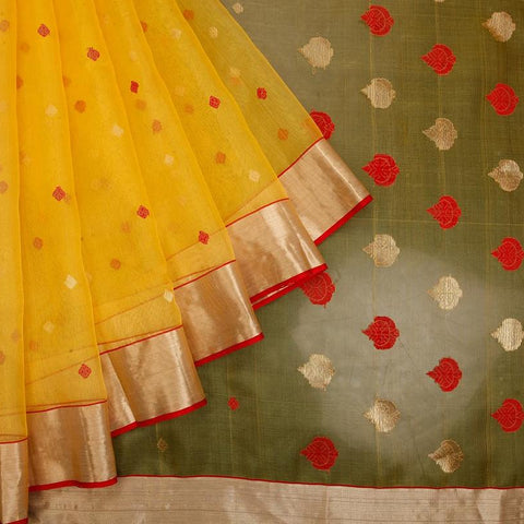 chanderi silk by Cotton yellow red and golden floral butti Saree