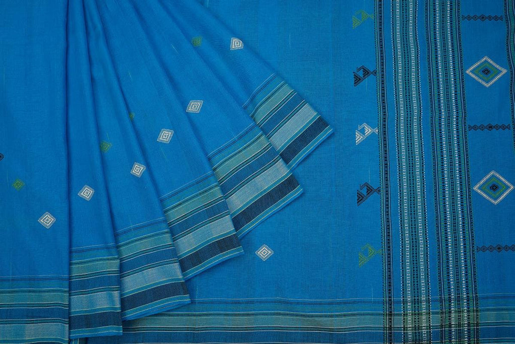 Handloom blue cotton  Saree