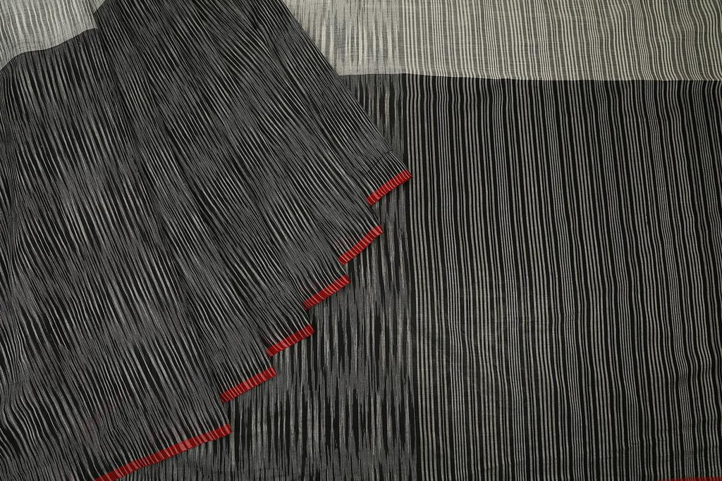 bengal cotton handwoven black and white stripe Saree