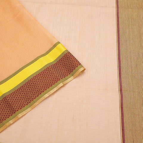 Maheshwari Cotton Silk Saree In Peach
