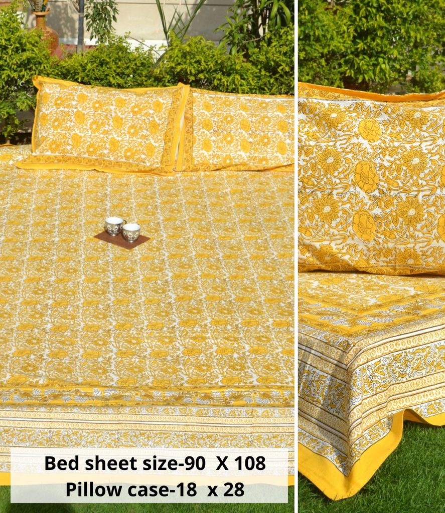 Yellow - Multicolor Handblock Printed Cotton Double Bedcover with Pillow Covers (Set of 3)