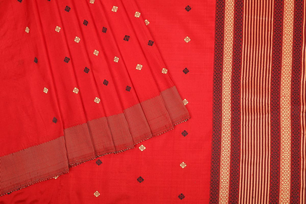 Assam Handwoven silk  saree in Red with yellow thread work