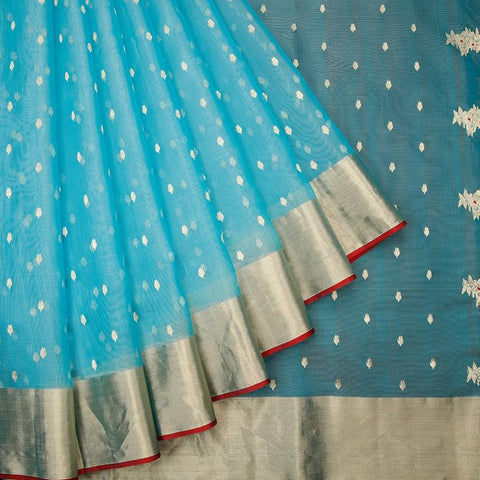 chanderi silk by cotton sky blue zari leaf butti Saree