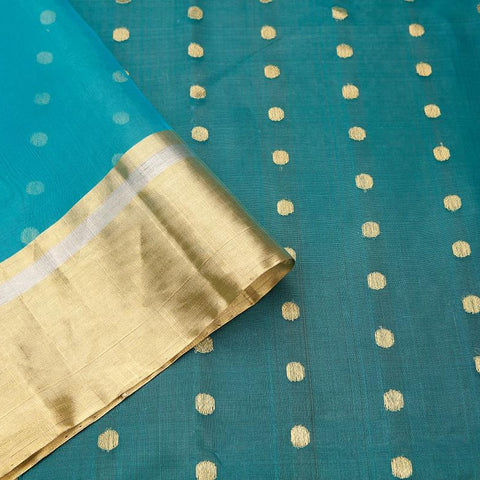chanderi silk by cotton aqua blue zari coin butti Saree
