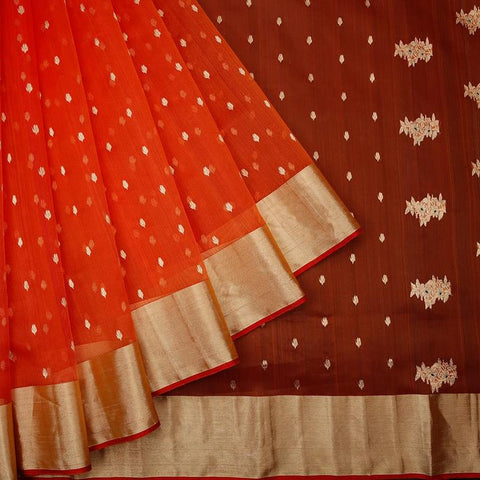 chanderi silk by cotton orangish red leaf butti Saree