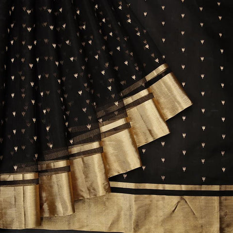 chanderi silk by cotton black leaf butti Saree