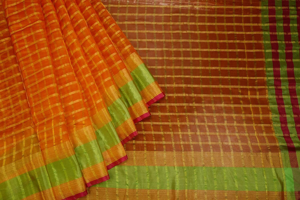 Handwoven Dark Orange Organza Silk Saree With Multi Border