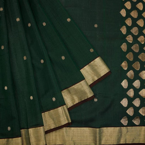 chanderi silk by Cotton dark green zari floral butti Saree