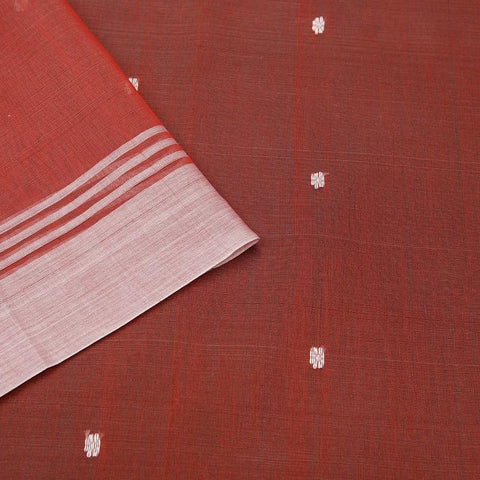 chanderi Cotton by Cotton pinkish red zari floral butti Saree