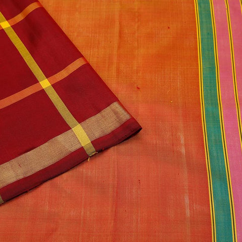 Uppada Silk Maroon Saree With Plain Golden Border With Maroon Outline