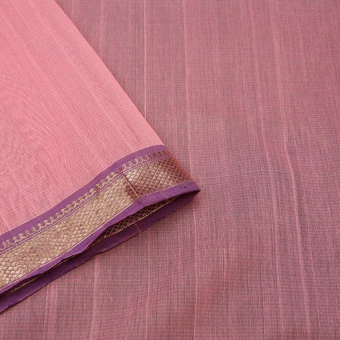 chanderi Cotton by Cotton baby pink plain Saree