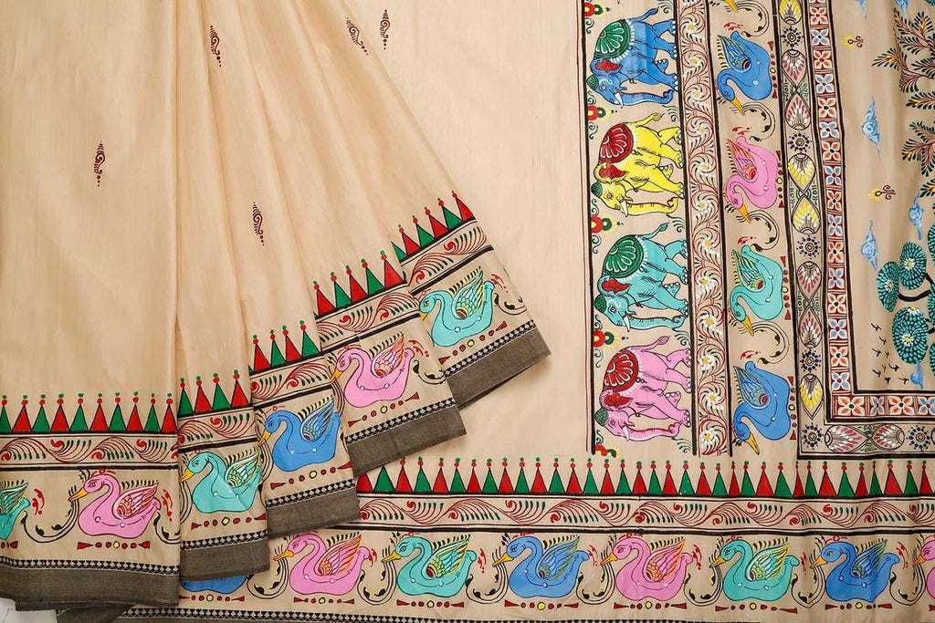 Orissa Bapta Cotton Beige Saree With Multicolored Bird Border