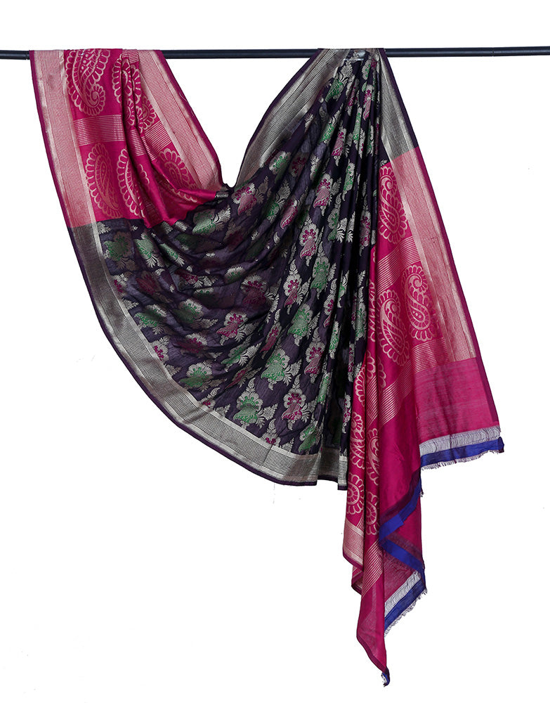 Banarasi katan silk cotton black Dupatta  with floral minadar butta