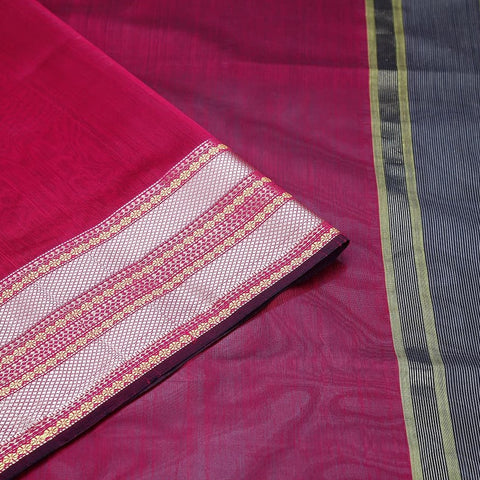 Maheshwari Cotton Silk Saree In Magenta