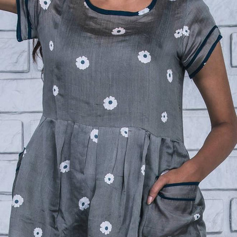 charcoal grey  handloom silk cotton dress