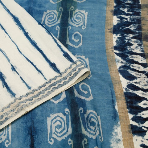Cotton Silk Handblock Print Saree In Blue Colour Natural Dye
