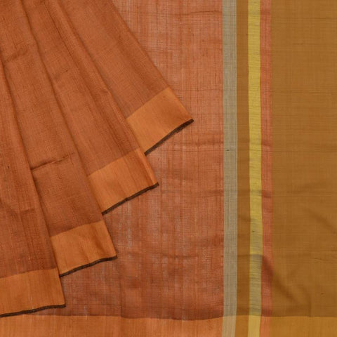 Bhagalpur tussar silk rust plain weave saree
