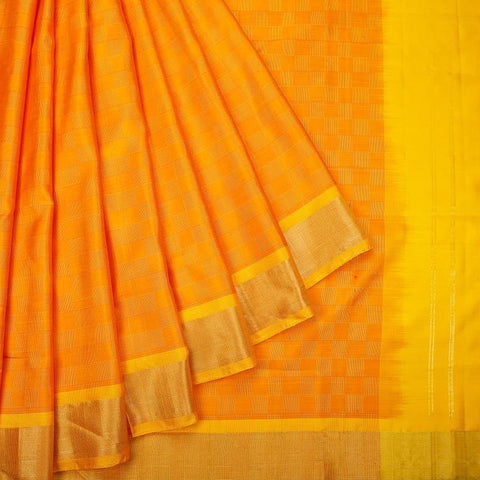 Uppada Silk Orange Saree With Plain Golden Border With Yellow Outlines