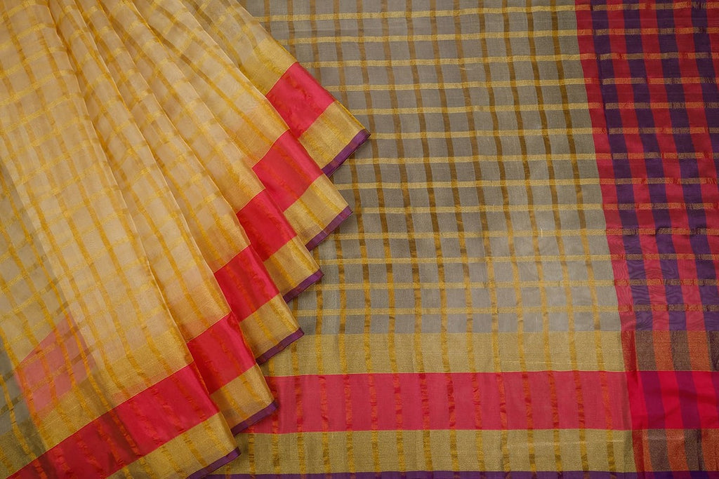 Handwoven Cream Organza Silk Saree With Multi Border