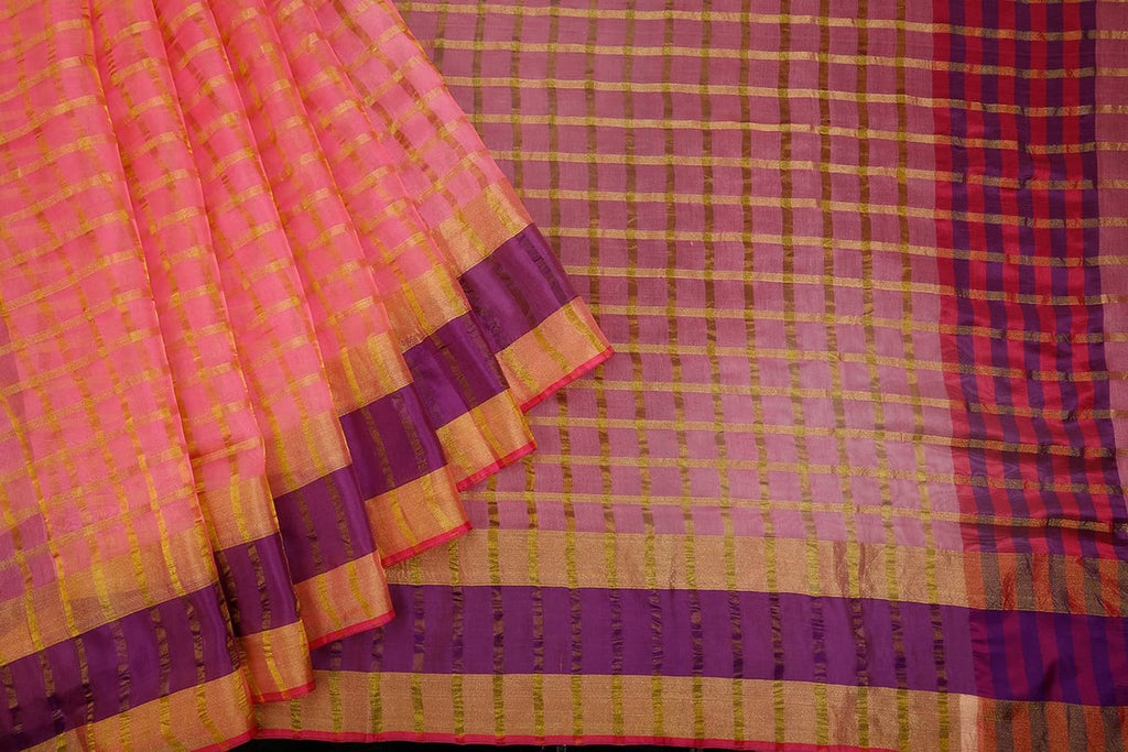 Handwoven Pink Organza Silk Saree With Multi Border
