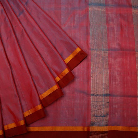 Uppada Silk Peacock Green Saree With Yellow And Maroon Stripes Border