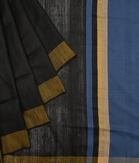 Bhagalpur tussar silk black plain weave saree