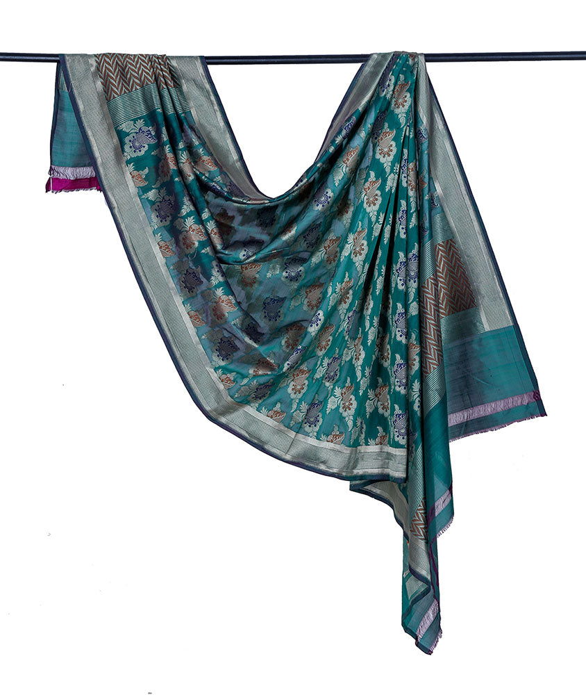 Banarasi katan silk cotton bottle green Dupatta  with floral minadar butta