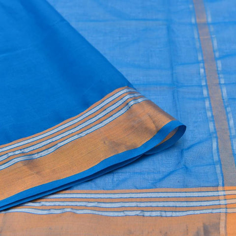 bright blue Andhra cotton Saree with plain