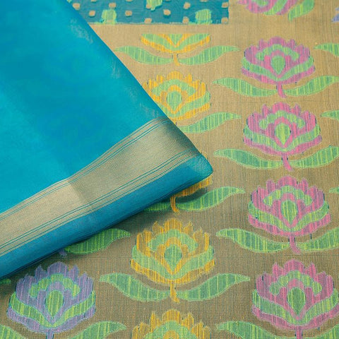 Teal Green  Organza Silk Jamdani Weave Saree