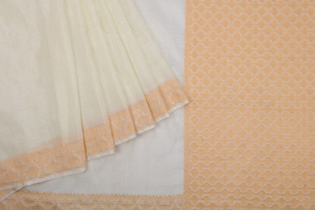 Assam Handwoven Silk  Saree In White With Orange Pallu