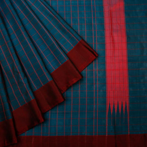 Uppada Silk Peacock Green Saree With Plain Maroon Border