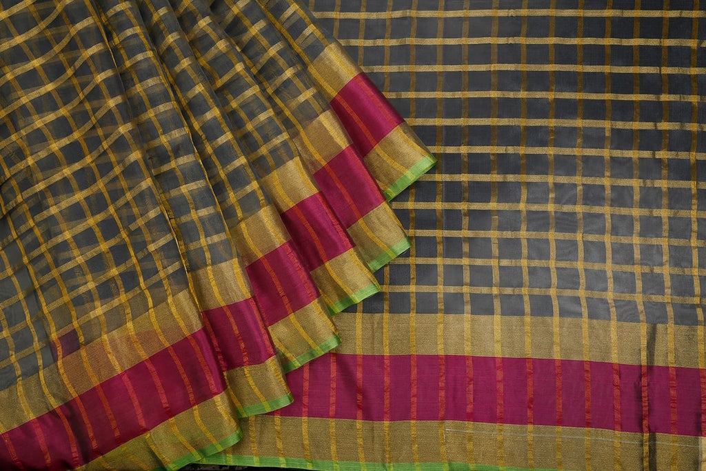 Handwoven Dark Slate Organza Silk Saree With Multi Border