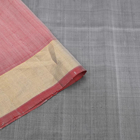 Uppada Silk Grey Saree With Plain Zari Border With Black And Red Oultine