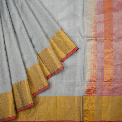 Uppada Silk Light Grey Saree With Golden Border With Maroon Stripes