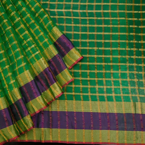 Handwoven Green Organza Silk Saree With Multi Border