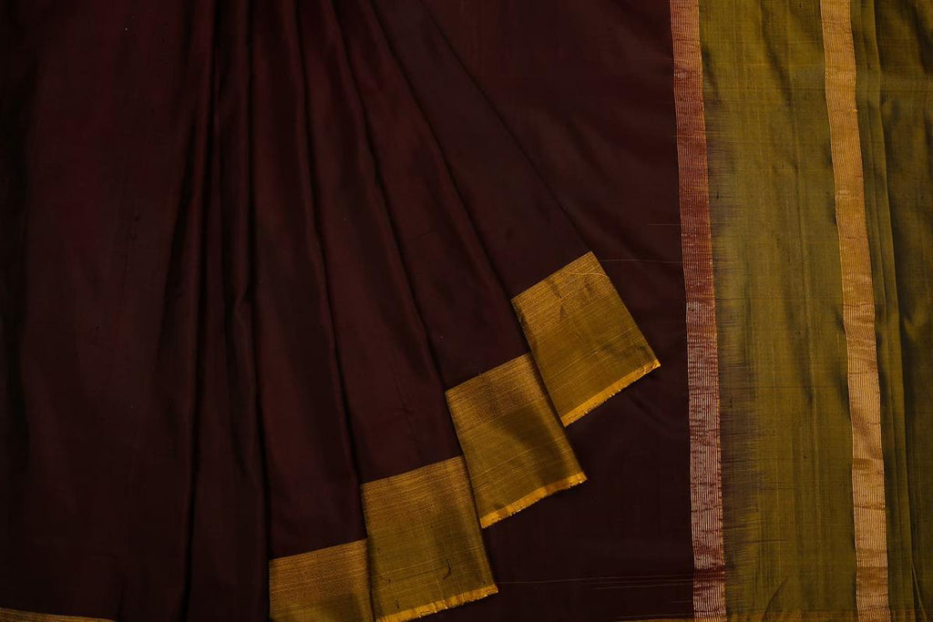Uppada Silk Brown Saree With Yellow Plain Border